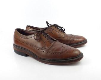 Brown Oxford Shoes Leather Vintage 1960s  Men's size 9 1/2 D