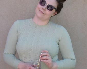Vintage pale green pointelle sweater, UK 14