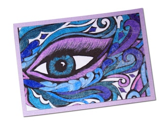 Eye Art, Blue and Purple ACEO, Eye ATC, Artist Trading Card, Womans Eye, Hand Colored Aceo, Lady in Mask, Coloring Page Art, Swirly Art