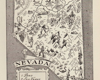 50's Vintage NEVADA Picture Map Pictorial State Map Print Black and White Gallery Wall Art Housewarming Gift for Wedding Birthday