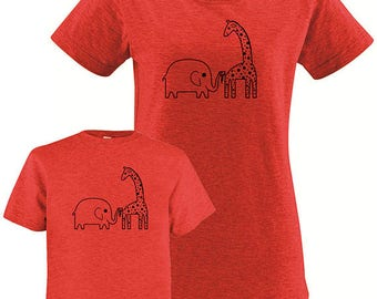 Mommy and Me Mother Daughter T Shirt - Mother Son T Shirt - Elephant Giraffe Matching Shirts, Tshirt Set - T shirt gift, mom child, gift