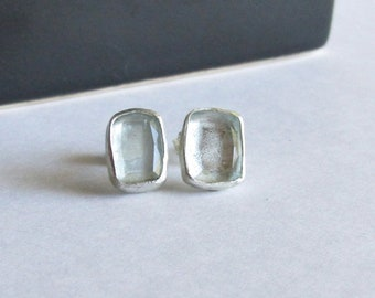Rectangle Aquamarine Stud Earrings - March Birthstone - Birthstone Jewelry - Aquamarine Jewelry