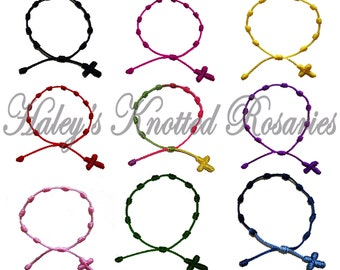 Hand Made - 9 Knotted Rosary Bracelets - Choice of Color