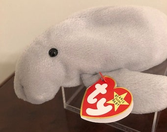 TY Beanie Babies -  Manny the Manatee - Date of Birth 6-8-95 - Collectible Beanie Babies