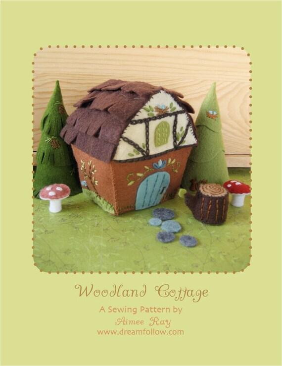 Diy Felt Woodland Cottage Pdf Pattern Mini House Fairy