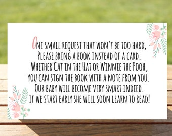 Bring a book - small insert card, In Lieu of card, Book Baby Shower Invitation,Inserts Instead of a card PRINTABLE