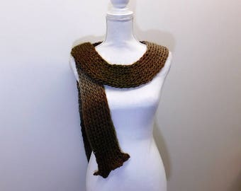 Elegant and Soft Handmade Loom Knit Scarf - Stockinette Stitch - Hemmed Ruffle Ends - Sand Dune Gradient Color
