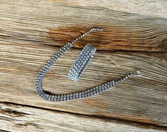 Blue Rhinestone Necklace and Bracelet Demi Parure Light Blue Rhinestone Neckace and Expansion Bracelet 1950s Jewelry Set