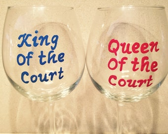 Queen or King of the court wine glass tennis or pickleball