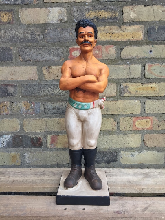 Vintage Plaster Figure Of A Victorian Style Bare Knuckle Boxer Queensbury Rules