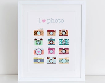I Love Photography Art Print, Camera Art Print, Instant Download, Photography Lovers, Vintage Camera Illustration, Camera Art Print