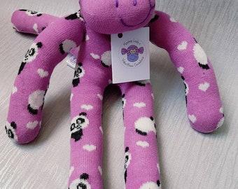 Panda Sock Monkey #panda #purple #sockmonkey #handmade