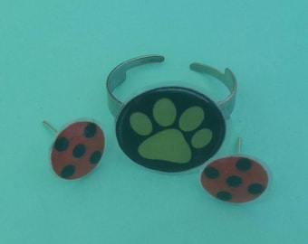 Miraculous : lady bug hearing , chat noir ring resin complete