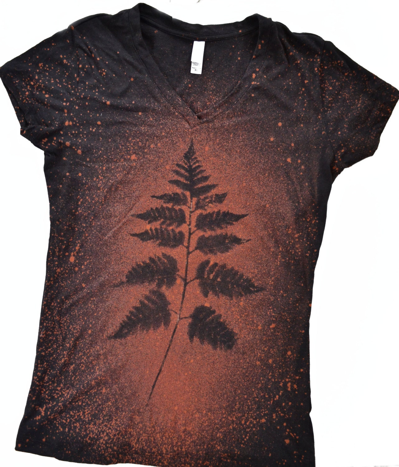 Women Tshirt Fern Leaf Shirt Woodland Shirt Hand Dyed