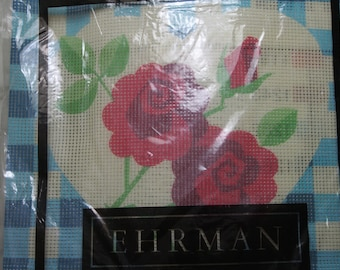 EHRMAN Tapestry Canvas and Wools  For You to Sew GINGHAM BLUE Rose by Janet Haigh