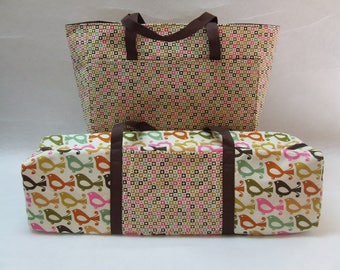 Silhouette Cameo 1 Carrying Case with matching Accessory Bag or Silhouette Cameo 2 Carrying Bag  / Bird Print  /  *Clearance*  Ready to Ship