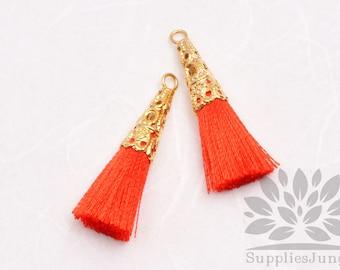 T003-01-G-RO// Gold Plated Cone Red Orange 34mm Tassel Pendant, 4pcs