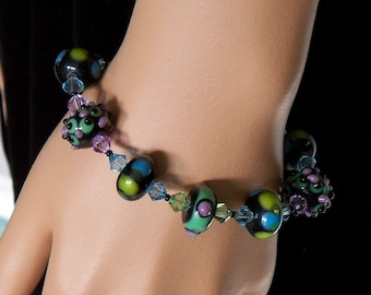 Colorful Lampwork and Swarovski Bracelet