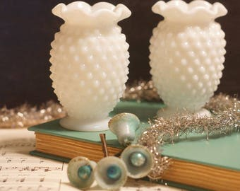 2 Hobnail Milk Glass Mini Crimped Vases unmarked Fenton