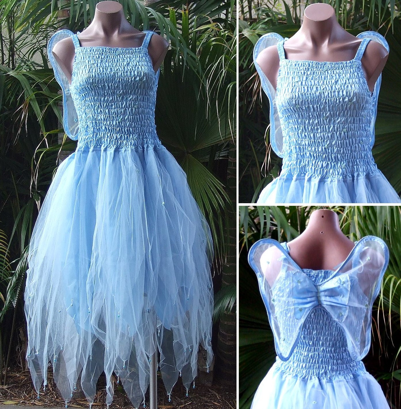 Fairy Dress Adult Size Party Costume with Wings Snow Queen