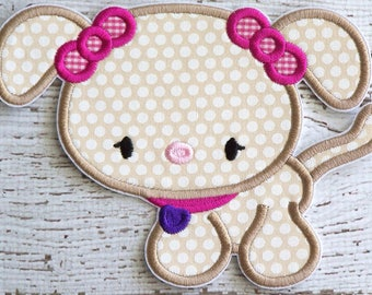 Girl Puppy Dog Iron On Appliques - Sew On Appliques