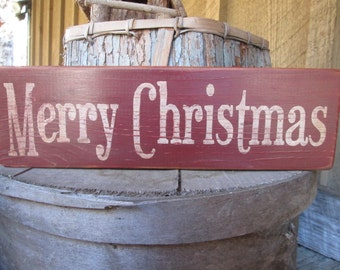 Primitive Wood Sign Merry Christmas Cabin Country Rustic Cottage Handmade Barn Red Handmade  Farmhouse