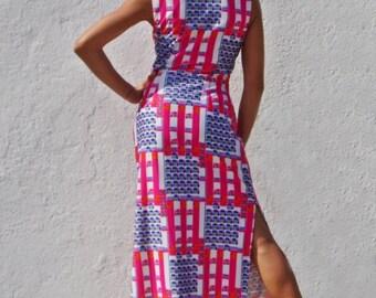 Maxi Pink Dress Maxi Rave Dress Psychedelic Dress Oriental Dress Shanghai Dress Japanese Dress Gamer Dress Halloween Dress