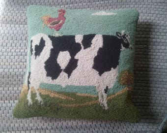 Hooked Rug with Velvet Backing Primitive Cow Pillow...Free Shipping!