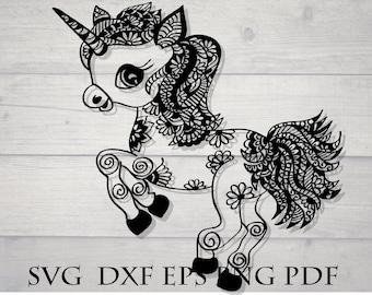 Mandala baby unicorn svg / animal mandala svg / zentangle svg file / zentangle unicorn svg / cricut design download svg / intricate svg file