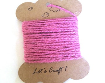 jute twine - 5 meters or 5.4 yards - craft gift wrapping twine - color hemp string - tag string - jute rope - burlap string - pink color