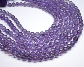 """Earthmined 9""""-6-8MM-Beautiful Natural Deep African Amethyst MicroFaceted Round Beads 30 Beads"""