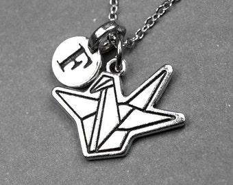 Origami crane necklace, origami bird necklace, paper crane necklace, origami bird jewelry, paper crane jewelry, personalized charm, initial