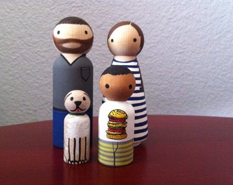 Custom Peg Doll Family of 4 - Peg People painted to match your photo or descriptions