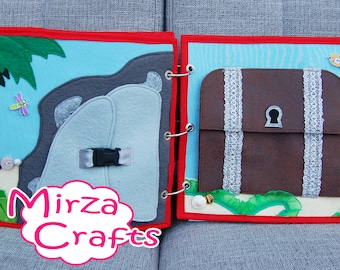 PATTERN & TUTORIAL 2 Quiet book pages Piratebook - Treasure cave and chest