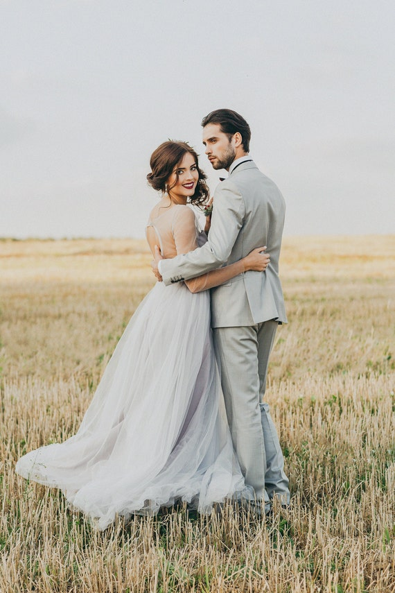 Grey wedding dress white wedding dress grey tulle gown open junglespirit Image collections