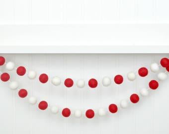 Felt Ball Garland, Valentines Felt Ball Garland, Valentines Pom Pom Garland, Valentines Wall Decor, Valentines Wall Hanging, Valentines Day