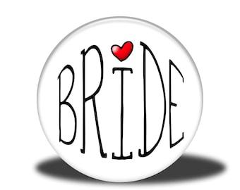 "Wedding Party Title - 1"" Button - Bride"