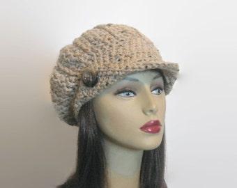 Crochet Newsboy Hat Cap with Visor Lightweight Tan Tweed Adult Newsboy hat knit Womens News boy Cap Cream Newsboy Hat with Visor and Button