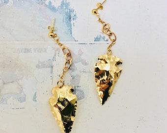 Diana Huntress Gold Jasper Arrowhead Studs