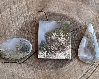 Moss Agate Cabochons   Garden Moss Agate Cabochon CHOICE   Unbacked Cabochons