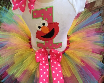Elmo Birthday Tutu Outfit Dress Set Handmade 1st 2nd 3rd Party in Bright Colors