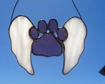 Pawprint Angel Stained Glass Suncatcher