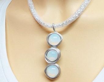 Unique White Jewelry, Unique White Necklace, Statement Necklace, Wire Wrap Stone Necklace Pendant, Wire Art Jewelry, Wire Art Necklace,