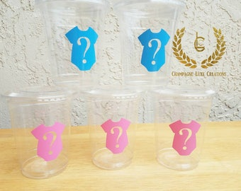 Gender Reveal Themed Party Cups ( Set of 12), Baby Shower Favor Cup, Party Decor