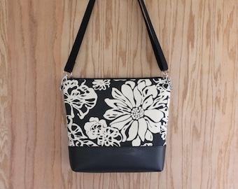 Crossbody zippered canvas bag, canvas crossbody purse, zippered bag, zippered purse, gift for women, tropical floral bag