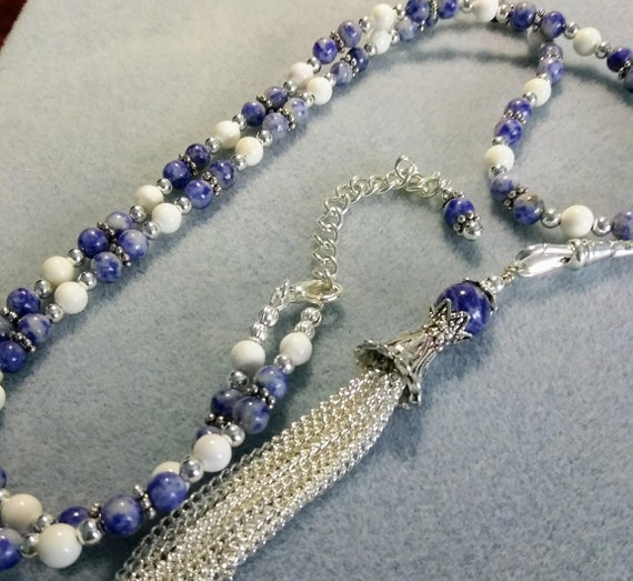 Sodalite and White Turquoise Lanyard With Detachable Tassel L6151751