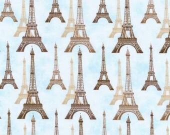 Robert Kaufman City of Lights Dusty Blue Paris Eiffel Tower Fabric - 1 yard