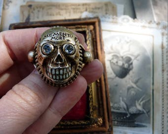 Antique Gothic Skull Ring, An Art Deco Memento Mori Talisman, offered by RusticGypsyCreations