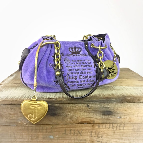 Vintage Juicy Couture Bag Velvet Velour Handbag Brass Purple