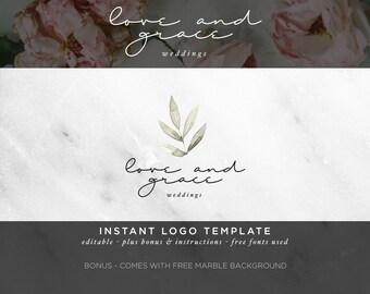 Watercolor Logo -  DIY Logo Template - Feminine Logo - Photography Logo - Calligraphy Logo - Boutique Business Logo - Company Logo Design 12